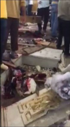 The scene after a bomb went off in a Coptic church packed with Palm Sunday worshippers in Tanta - just one of two church bombings that took place in Egypt today.  (Video: Reuters/mobile phone footage)