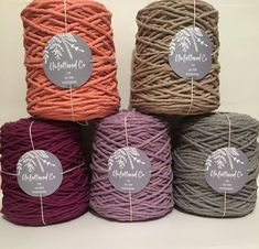 New Colour Alert! single twist in Coral, Lavender, and Warm Gray/ Macrame cotton/Macrame Canada Singles Twist, Macrame Supplies, Co Design, Crochet Handbags, Cotton Rope, Hanging Art, Fiber Art, Lana, Projects To Try