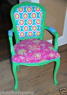 Updated Vintage Queen Anne Chair Annie Sloan Paint Amy Butler Fabric New | eBay