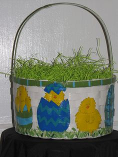 Hand painted Easter Basket in Blue by MyTwinkles on Etsy ...
