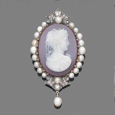 Bonhams - late 19th century hardstone, pearl and diamond cameo brooch/pendant.