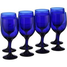 Libbey® Cobalt Blue Goblets 8 pc Box Image 1 of 4 Royal Blue And Gold, Blue And Silver, Blue And White, Cobalt Blue Kitchens, Cobalt Blue Weddings, Blue Wine Glasses, Blue Kitchen Decor, Taupe Kitchen, Emo