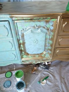 Creating a Verdigris look with paint.  Verdigris Furniture Tutorial at www.abitowhimsy.com