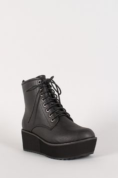 Platform Wedge Military Lace Up Bootie