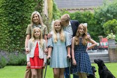 Queen Maxima posed with her husband and their daughters for the annual photo shoot