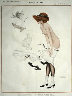 Brise of May - Raphael Kirchner  Very early pin up and art nouveau artist popular in trenches of WWI