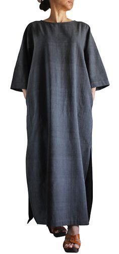 ジョムトン手織綿シンプルロングドレス