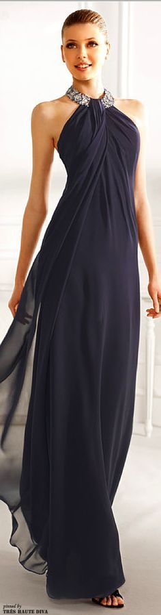 From an SD board. Shoulder emphasis, understated detail, long line, beading, elongated draping (Pronovias Couture 2013)