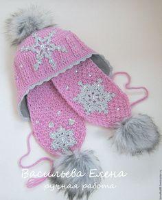 """Купить Комплект шапка и шарф детский """" Зима"""".Комплект вязаный. Шапка и шарф."""