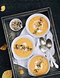 Sweet Potato Soup (Sweet Paul) Makes 4 1 onion 1 garlic clove 4 large sweet potatoes 3 large carrots 2 tablespoons olive oil 4 cups vegetable stock ¾ cup whipping cream ¼ teaspoon chili ¼ teaspoon black pepper toasted pumpkin seeds thyme twigs, 4 garnish 1. Peel & chop onion, sweet potatoes, & carrots; sauté in large pot. 2. Add stock & Bring to a boil, then simmer. 3.Cook for 25 min until vegetables are tender. 4. purée the soup and add cream. 5.Stir the soup; bring to a boil; season; garnish