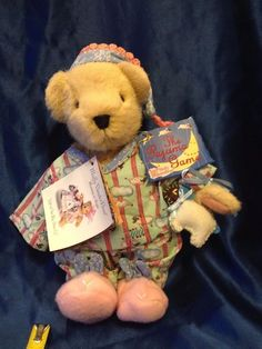 """This is from the Muffy Vanderbear """"The Pajama Game"""" Collection. Muffy is in her pajamas printed with sheep to be counted and bunny slippers and night cap and a stuffed sheep. The Pajama Game, Bunny Slippers, Games W, Teddy Bears, Sheep, Picnic, Pajamas, My Favorite Things, Toys"""