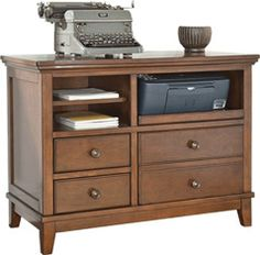 Bring order to your den or home office with this brown-finished chest, featuring open storage space for printers, papers, or woven baskets. Home Office Cabinets, Dream Furniture, Make It Work, Bookshelves, Storage Spaces, Sweet Home, Contemporary, Woven Baskets