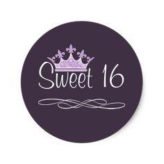 Pretty Crown Plum Sweet 16 Birthday Sticker
