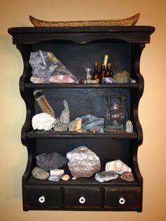 nature display shelf of rocks