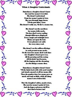 Happy Mothers Day Quotes : poems for mother's day from daughter Birthday Poems For Daughter, Mother's Day For Daughter, Mother Poems From Daughter, Happy Mothers Day Poem, Birthday Quotes For Daughter, Mothers Day Quotes, Daughters, Mom Poems, Daddy Daughter
