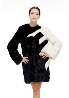 Louis\'s dream/faux black with white mink fur/middle coat