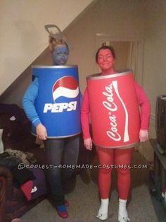 The Pespi and Coke Can Duo Couple Costume... This website is the Pinterest of costumes