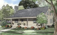 <ul><li>Simplicity best describes this traditional log home plan with covered porches and open truss ceiling. The Great room with fireplace flows into the dining room and kitchen creating an exquisite view from the loft above. </li><li>Access to the grilling porch and eat-at bar in the kitchen make entertaining a breeze. </li><li>The main level master suite has a private half bath with pedestal sink and shares the central bathroom also available t...