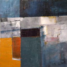 """Niki Hare; Painting, """"blu/ orange""""."""