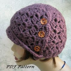 Crochet Hat Pattern Womens Side Button Cloche Easy To Make Instant Download