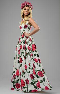 Abendkleid ''Diana'' mit pinken Rosen