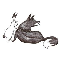 fox and rabbit scared Fox And Rabbit, Whale, Rooster, Illustration, Animals, Art, Draw, Animales, Art Background