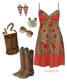 A fashion look from April 2012 featuring floral sundress, western style boots and hippy jewelry. Browse and shop related looks. Country Girl Dresses, Country Girl Style, Country Fashion, Country Outfits, My Style, Country Jam, Country Chic, Cowgirl Outfits, Dresses With Cowboy Boots