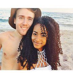 Cute interracial couple on the beach #love #wmbw #bwwm