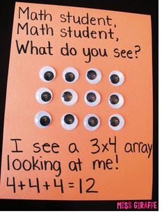Arrays activities and fun teaching ideas to introduce multiplication with repeated addition rectangular arrays ideas Math Strategies, Math Resources, Multiplication Activities, Numeracy, Maths, Fun Activities, Multiplication Anchor Charts, Math Enrichment, Math Crafts