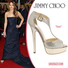 27b944c18340 Jennifer Lawrence wore Jimmy Choo Tease sandals to the 2013 Screen Actors  Guild Awards. She was wearing a blue strapless dress by Christian Dior  Haute ...