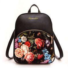 Women Leather Backpacks Printing Foral Bags School Bag For College Designer Female Backpack Bolsas Mochilas 2016 High Quality