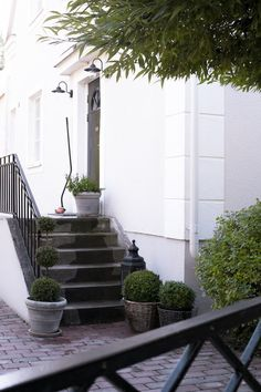 Vackert vid House of Philia's entré! / Via House of Philia.I love the boxwood in a pot. White Exterior Houses, Exterior Paint, Exterior Design, Terrace Garden, Garden Paths, Garden Landscaping, House Of Philia, Houses Architecture, Beach Gardens
