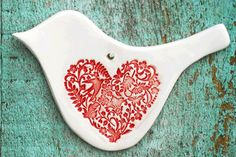 Single Ceramic Love Bird Ornament