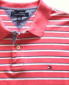 Tommy Hilfiger Polo Size Large L/G Men's Rugby Shirt Pink Striped Cotton Top EUC…