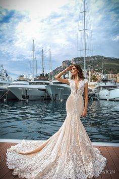 CRYSTAL DESIGN 2017 bridal cap sleeves deep plunging v neck full embellishment ivory color sexy elegant fit and flare mermaid wedding dress low back royal long train (marchesa) mv #bridal #wedding #weddingdress #weddinggown #bridalgown #dreamgown #dreamdress #engaged #inspiration #bridalinspiration #lace#weddinginspiration #weddingdresses