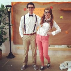 DIY nerd Costume for Women | Worlds cutest nerd costumes. Erin Harrison and Chandler Abney everyone ...
