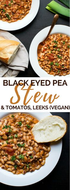 Vegan black eyed peas with tomatoes and leeks (recipe).