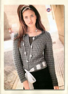 Gray Cardigan with Belt free crochet graph pattern