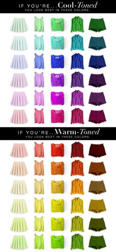 Cool and Warm Tone Fashion Color Chart