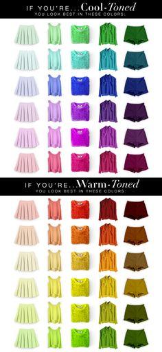 Assortiments de vêtements aux couleurs froides et chaudes, conseil en image, colorimétrie, être en harmonie des couleurs