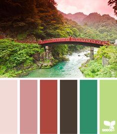 Color: Color Bridge by Design Seeds - pink, rose, terra cotta, brown, spruce, light green.
