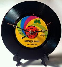 "Recycled NEIL DIAMOND 7"" Record / Brooklyn Roads / Record Clock"