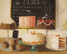 Adorable prints by a Canadian artist!  Still Life A Small Slice Art Print by janethillstudio on Etsy, $26.00