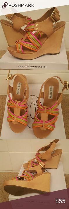 Steven Madden size 8 New in. Box tan with multiple color pink and green  Heel 4.5 Front 1.0 Confortable  cute check the pictures for better description  Any question  feel free to ask  (Last pair on stock the display)  from Steven Madden store Steven by Steve Madden Shoes Platforms