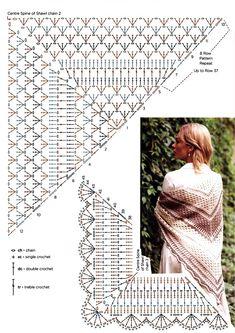 Crochet Diagram, Crochet Patterns, Crochet Chart, Joelle, Triangle Scarf, Knitting Needles, Crochet Hooks, Shawl, Cross Stitch