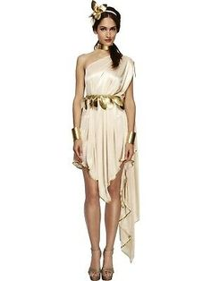 Greek Costume for Women - Choose from our extravagant collection of Greek Costume and Roman Costume. We have a variety of styles in toga costume for your n Toga Fancy Dress, Fancy Dress Ball, Toga Dress, Greek Goddess Dress, Greek Goddess Costume, Goddess Fancy Dress, Grecian Goddess, Roman Toga, Toga Costume