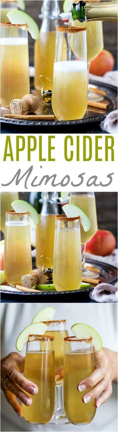 Easy 2 ingredient Apple Cider Mimosas – you'll love this fall twist on a cla… Easy 2 ingredient Apple Cider Mimosas – you'll love this fall twist on a classic mimosa. These Apple Cider Mimosas are the perfect bubbly cocktail to start off your holidays! Apple Cider Cocktail, Cider Cocktails, Fall Cocktails, Holiday Drinks, Holiday Recipes, Thanksgiving Drinks, Apple Recipes, New Year's Desserts, Christmas Desserts
