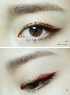 trendy eye makeup blue pink make up Eye Makeup Blue, Asian Eye Makeup, Makeup Eyeshadow, Red Eyeliner, Eyeline Makeup, Monolid Eyeliner, Eyeliner Pencil, Eyebrow Makeup, Asian Make Up