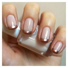 Nails Always Polished Rose Gold French Manicure ❤ liked on Polyvore featuring beauty products and nail care
