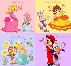 Princesses by HimeMikal on DeviantArt Super Mario Bros, Super Mario Kunst, Nintendo Super Smash Bros, Super Mario Brothers, Princesa Daisy, Princesa Peach, Super Mario Princess, Nintendo Princess, Sonic Fan Characters